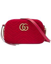 e1e668a000905 Gucci - GG Marmont Velvet Small Shoulder Bag - Lyst