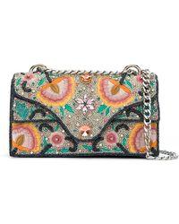 Isla - Embroidered Denim Shoulder Bag - Lyst
