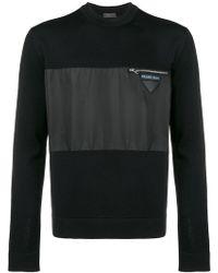 Prada - Nylon Panel Knitted Sweater - Lyst