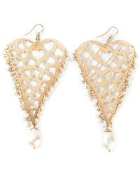 Natasha Zinko - 18kt Yellow Gold Heart Earrings - Lyst