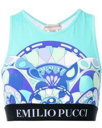 Emilio Pucci - Logo Printed Lycra Crop Top - Lyst