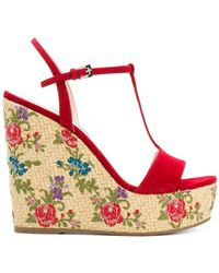 Prada - Floral Woven Wedge Sandals - Lyst
