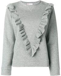 RED Valentino - Ruffle Trim Sweatshirt - Lyst