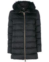 9ae5b3afb1 Pinko Fur Trim Parka in Black - Lyst