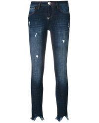 Philipp Plein - Distressed Raw Edge Tassel Hem Jeans - Lyst