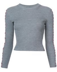 Alexander McQueen - Lace Detail Cropped Jumper - Lyst