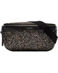 Saint Laurent - Black Glitter Belt Bag - Lyst