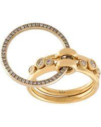 Charlotte Chesnais - Dreiteiliger 18kt Goldring mit Diamanten - Lyst