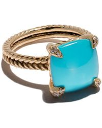 David Yurman - 18kt Yellow Gold Châtelaine Turquoise And Diamond Ring - Lyst