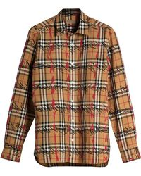 Burberry - Scribble Check Cotton Shirt - Lyst