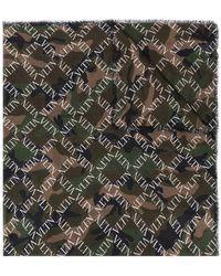 Valentino - Camouflage Logo Grid Print Scarf - Lyst