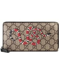 493d80bc2aa0b4 Gucci Striped Snake Print Bi-fold Wallet In Red And Blue in Red for ...