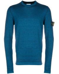 Stone Island - Crew Neck Logo Sleeve Sweater - Lyst