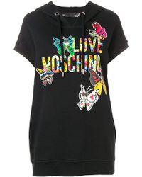 Love Moschino - Kapuzenkleid mit Schmetterling - Lyst