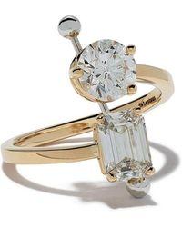 Delfina Delettrez - Diamond Foundry X Dover Street Market 18kt Yellow And White Gold Diamond Piercing Ring - Lyst