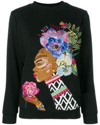 Katya Dobryakova - Flowers Embroidered Sweatshirt - Lyst