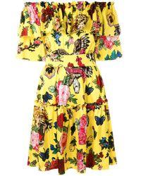 Philipp Plein - Frilly Floral Print Bardot Dress - Lyst
