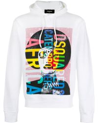 DSquared² - Printed Hooded Sweatshirt - Lyst
