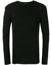 Diesel Black Gold - Destroyed Ribbed Knit Sweater - Lyst