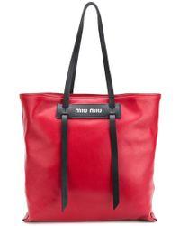 Miu Miu - Logo Tote Bag - Lyst