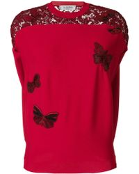 Valentino - Embroidered Butterfly Top - Lyst