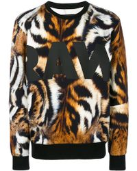 G-Star RAW - Tiger Print Sweatshirt - Lyst