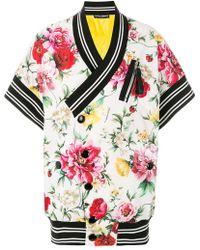 Dolce & Gabbana - Striped Detail Floral Jacket - Lyst