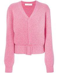 Victoria Beckham Buckled Hem V-neck Sweater
