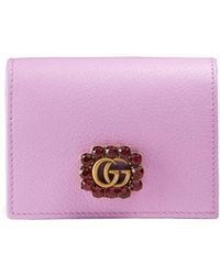 Gucci - Leather Card Case With Double G And Crystals - Lyst