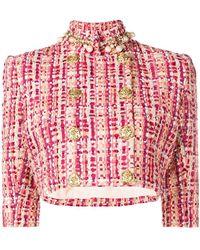 Elisabetta Franchi - Cropped Tweed Jacket - Lyst