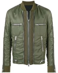 9aeaaf2a62f0 Balmain Washed Cottontwill Biker Jacket in Green for Men - Lyst