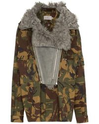 Preen By Thornton Bregazzi - Dree Shearling Collar Camouflage Cotton Blend Jacket - Lyst