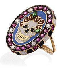 Holly Dyment - 18k Yellow Gold Skull Sunday Diamond Sapphire Ring - Lyst