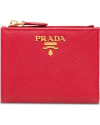 9c0232a102bd Prada Saffiano Leather Credit Card Holder in White - Lyst