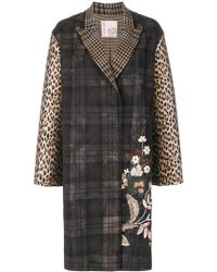 Antonio Marras - Floral Embroidery Checked Coat - Lyst
