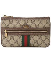 e7d5cba0651 Gucci Snake Gg Supreme Card Holder in Black - Lyst