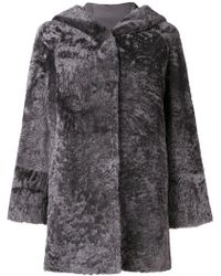 DROMe - Hooded Fur Coat - Lyst