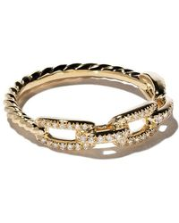 David Yurman - 18kt Yellow Gold Stax Single Row Pavé Diamond Chain Link Ring - Lyst