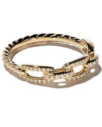 David Yurman - 18kt Yellow Gold Stax Single Row Pavé Diamond Chain Link Ring - Lyst