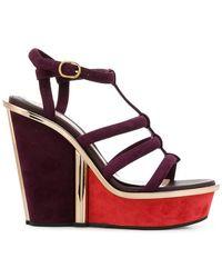 Alexander McQueen - Strappy Wedge Sandals - Lyst