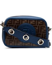 d443954e15eb Fendi - Navy Blue And Brown Zucca Print Contrast Trim Leather Cross Body Bag  - Lyst