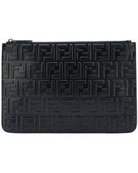Fendi - Embossed Logo Clutch Bag - Lyst