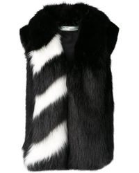 Off-White c/o Virgil Abloh - Striped Collar Fur Jacket - Lyst
