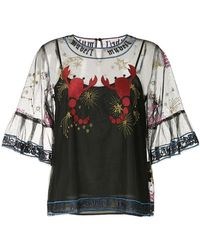 MUVEIL - Embroidered Mesh Blouse - Lyst