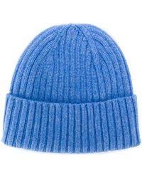 4ec3a53eb4be9 Dell Oglio Cashmere Knit Beanie Hat in Blue for Men - Lyst