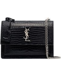 Saint Laurent - Navy Blue Sunset Medium Mock Croc Shoulder Bag - Lyst