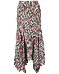 Oscar de la Renta - Asymmetric Checked Skirt - Lyst