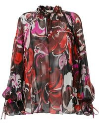 Emilio Pucci | Signature-print Gathered Blouse | Lyst