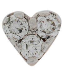 Kismet by Milka - 14kt Rose Gold Mini Heart Diamond Stud - Lyst