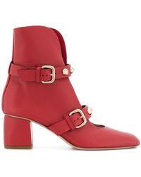 RED Valentino - Open Front Ankle Boots - Lyst